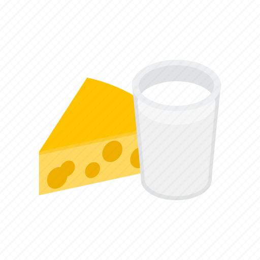 cheese, dairy, food, healthy, isometric, milk, product icon