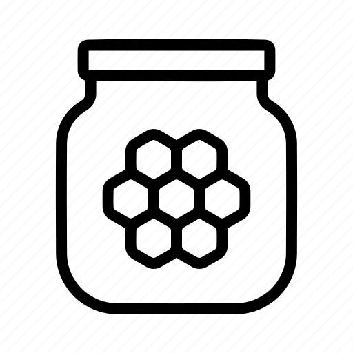 bee, honey, jar icon