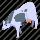 baby, cartoon, cow, farm, isometric, logo, milk