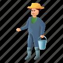 bucket, business, farmer, food, water, woman