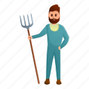 child, farmer, food, fork, man, person
