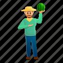 food, watermelon, child, business, farmer, happy