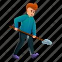 business, man, person, shovel, work