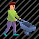 boy, child, family, flower, wheelbarrow, woman
