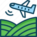 seeding from air, airplane seeding, aerial seeding, agricuture, farming icon