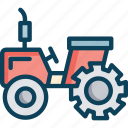 agricultural tractor, tractor, transportation icon