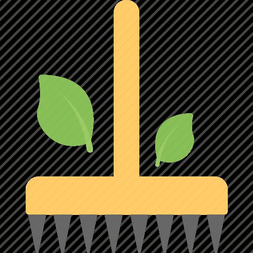 garden equipment, garden rake, garden tool, pitchfork, rake icon