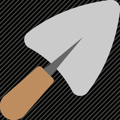 garden trowel, mason tool, plastering object, putty knife, trowel icon