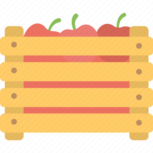apple crate, farming, fresh fruit, healthy diet, market packaging icon