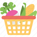 agriculture, farming element, food collection, turnip and maize, vegetable basket icon