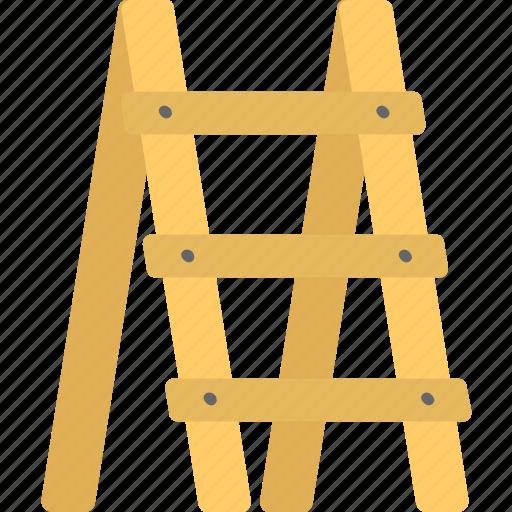 farming tools, gardening item, stairs, stairway, step ladder, wooden ladder icon