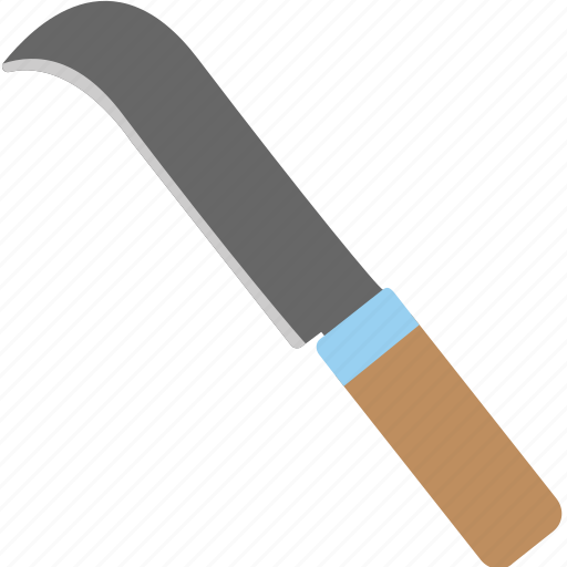 bush cutter, gardening equipment, grass cutter knife, hand tool, hook knife icon