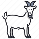agriculture, animal, farm, goat, horn, livestock, milk icon