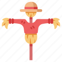 agriculture, farm, harvest, hat, scare, scarecrow, straw icon
