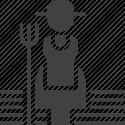 farmer, female, garden icon