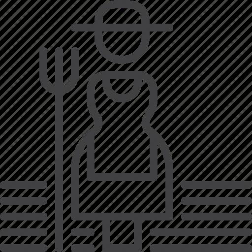 farmer, farming, garden, hayfork, tool icon