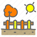 autum, farm, fence, food, soil, store, sun icon