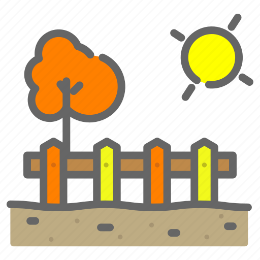 autum, farm, fence, food, soil, store, sun icon