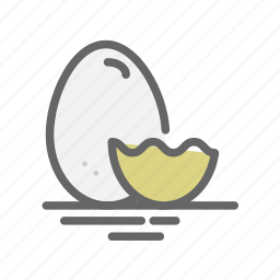 bunny, chicken, easter, eggs, eggshell, food, hatched icon