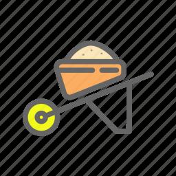agriculture, farm, transport, vehicle, wheelbarrow, work icon