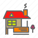 cabin, farm, farmhouse, house, smoke, tree icon