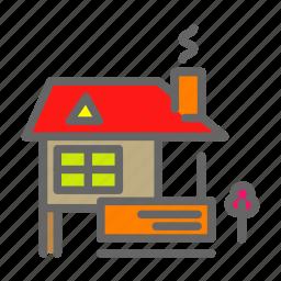 cabin, farm, farmhouse, house, smoke, tree icon