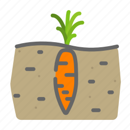 beverages, carrots, farming, food, groceries, soil icon