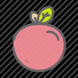 fruit, garden, greenry, leafs, peach, plant icon