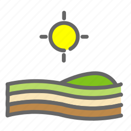 farm, plantation, sun, sunset, vegetation icon