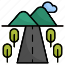 road, mountains, hills, transport, mountain, hill, trees