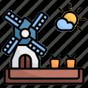 windmill, nature, farming, farm, monuments, carrots, sunny