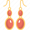 earrings, fashion, glamour, jewelry, red earrings icon