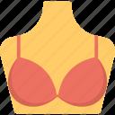 bra, mannequin with bra, red bra, undergarment shop, women accessory icon