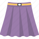 clothes, dirndl skirt, pleated skirt, purple color skirt, skirt icon