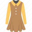 a line dress, casual wearing, full sleeves dress, ladies garment, women clothes icon