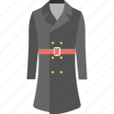 coat, long coat, overcoat, topcoat, trench coat icon