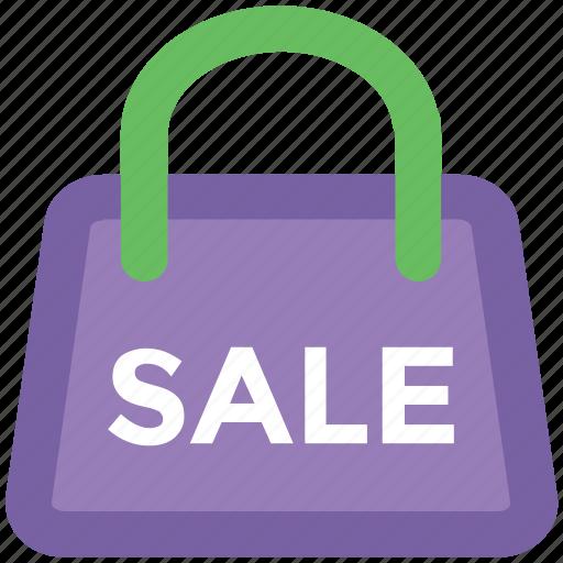 bag, carryall bag, holdall, reusable bag, sale sign, shopping bag, tote icon