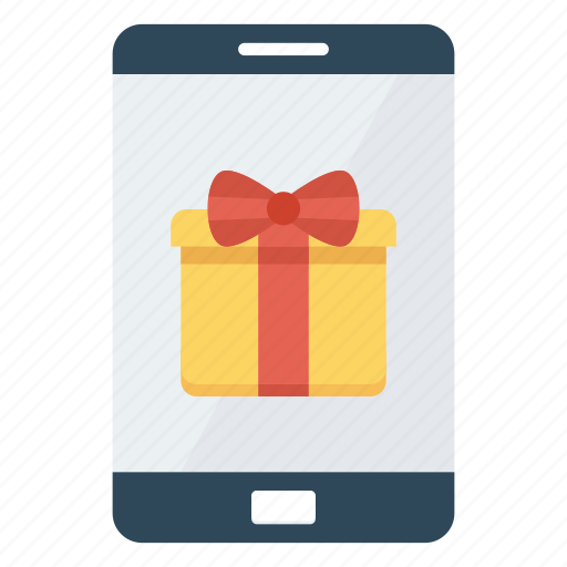 Mobile, phone, gift, present, surprise icon