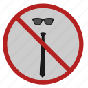 cancel, tie, code, dress, glasses icon