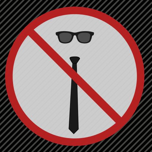 cancel, code, dress, glasses, tie icon