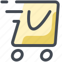 delivery, bag, fast, shopping, paper, wheels, parcel icon