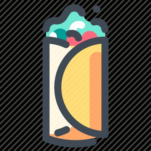 breakfast, eat, fast, food, street food, vegetable, wrap icon