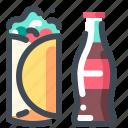breakfast, coca cola, fast food, food, soda, steet food, wrap icon