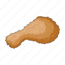 chicken leg, cooking, fast food, food, fried, restaurant icon