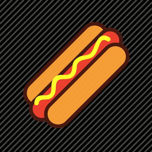 bun, fast, food, hotdog, mustard, sausage icon