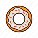 dessert, doughnut, fast, food, sprinkles icon