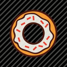 dessert, doughnut, fast, food, sprinkles icon