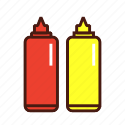 condiments, fast, food, ketchup, mustard icon
