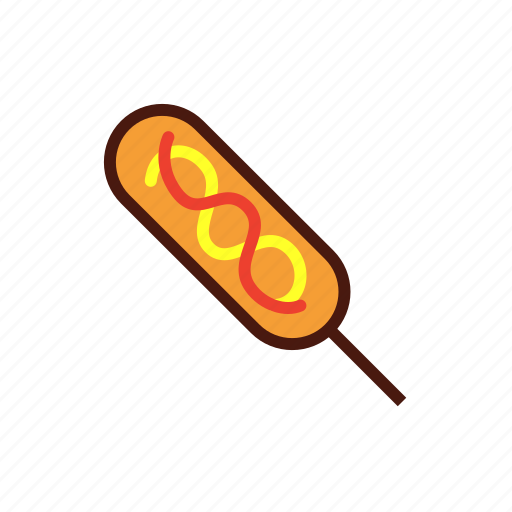 corndog, fast, food, hotdog icon