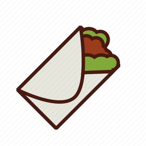 burrito, fast, food, mexican, wrap icon